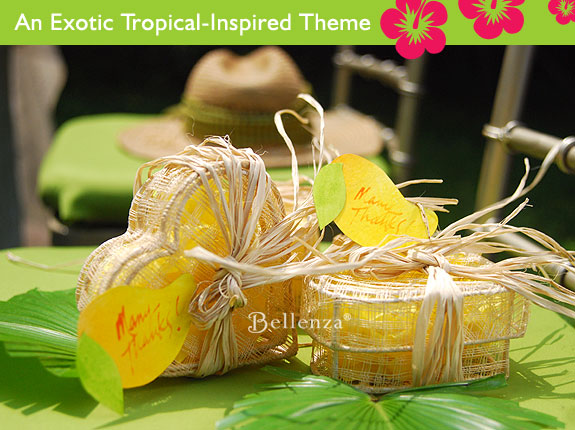 Mango tags for tropical favors.