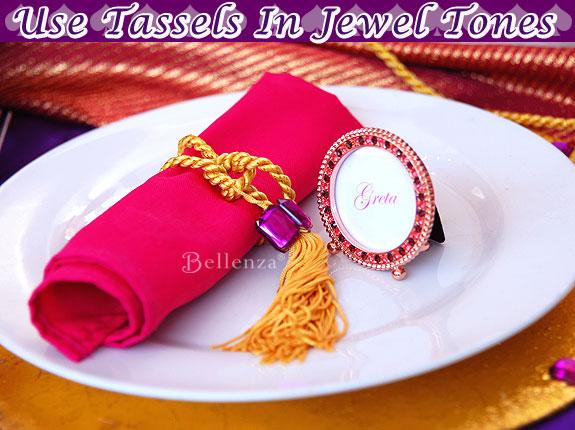 tassel napkin rings for a moroccan or arabian nights theme