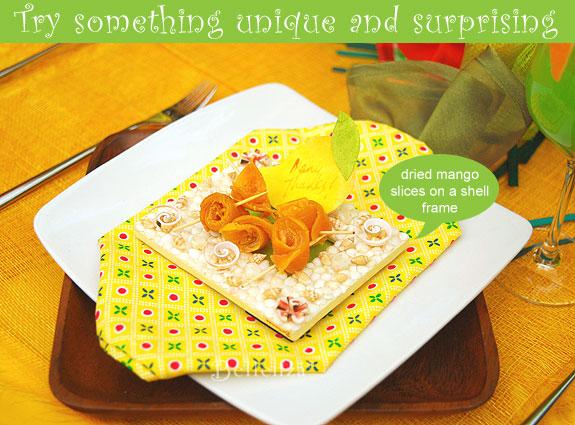 Pineapple napkins with mango on shell frames.