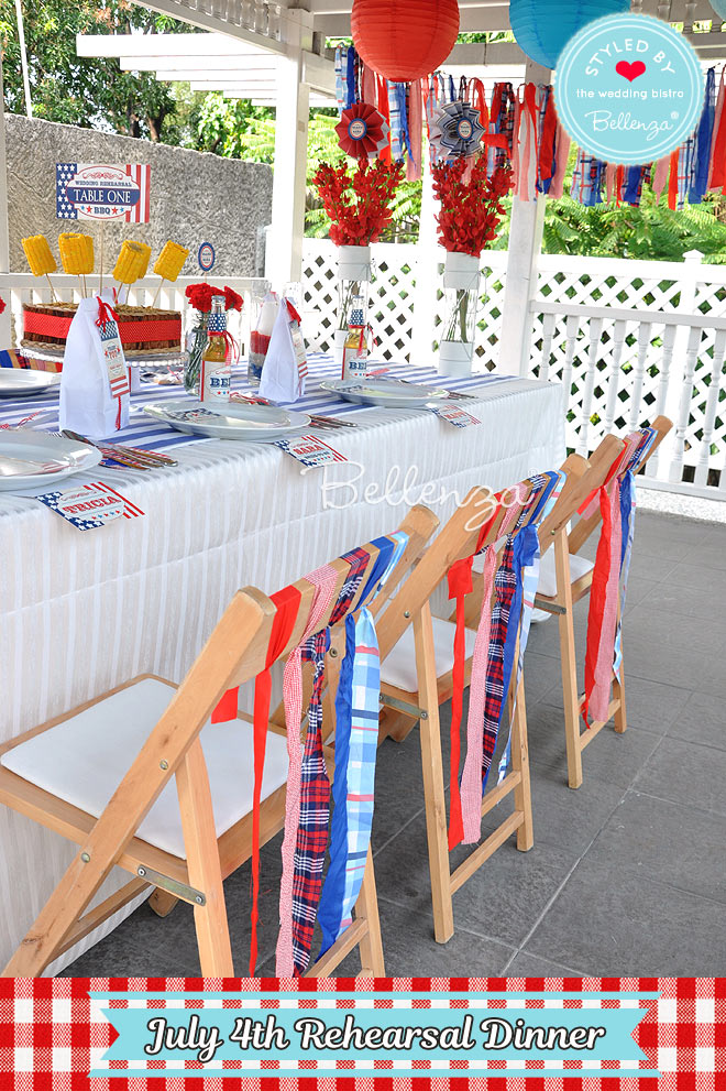 DIY Chair Decor to Match for July 4th Rehearsal Dinner