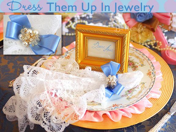 brooch napkin rings for a marie antoinette theme