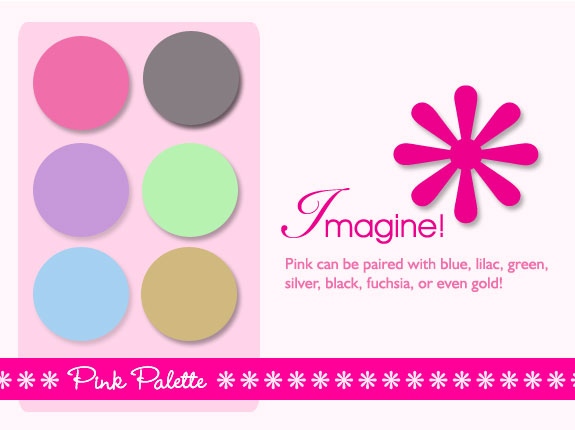 Pink color palette suggestions with mint green, fuchsia, blue, violet