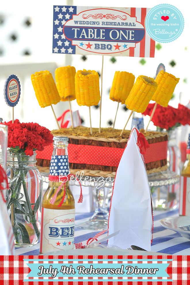 All-American Rehearsal Dinner Menu with Corn on the Cob Centerpieces
