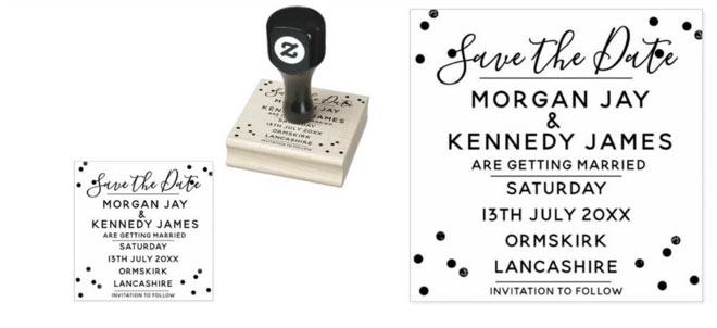 Confetti Save The Date DIY Wedding Rubber Stamp - via Zazzle
