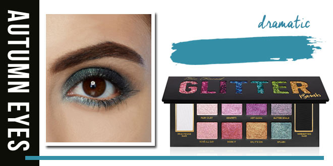 Glitter bomb in teal for fall eyes // 10 dazzling fall eyeshadow looks