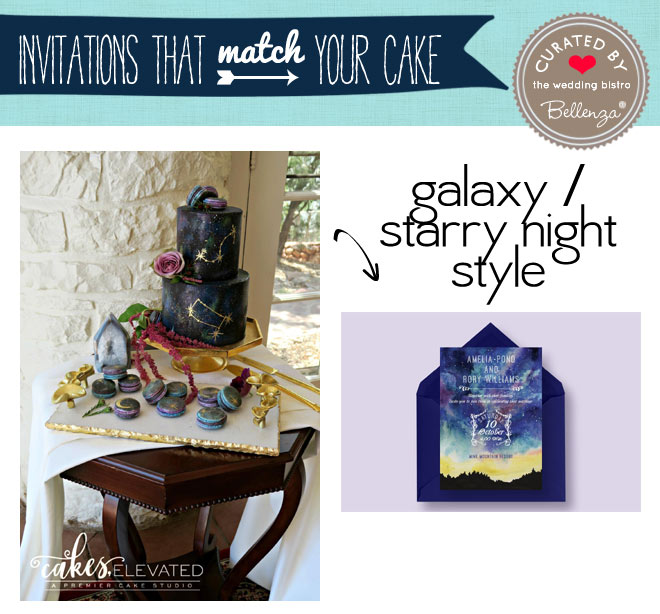 Galaxy and starry night theme cake and invitation