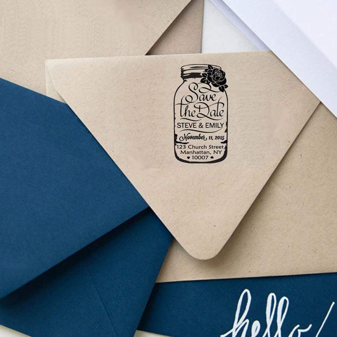 Mason Jar Custom Rubber Stamp Save The Date - via Amazon