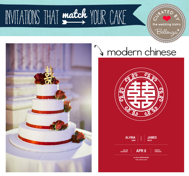 Modern Chinese red and white cake and wedding invitation