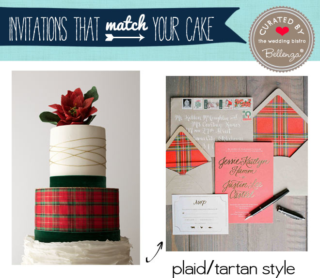 Plaid, tartan wedding cake and invitation for Christmas