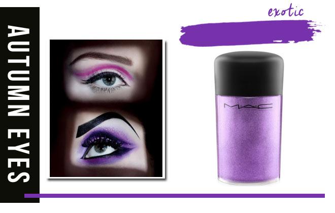 Purple and fuchsia eye shadow.