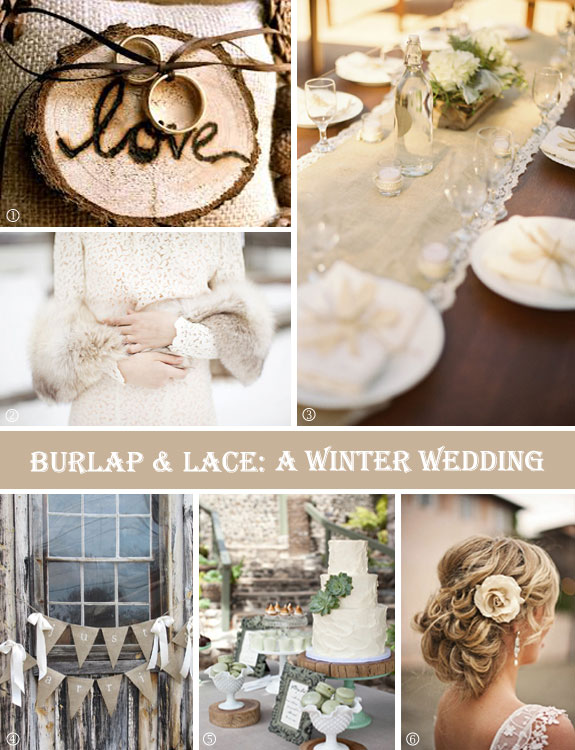 Burlap winter wedding touches of lace and wood