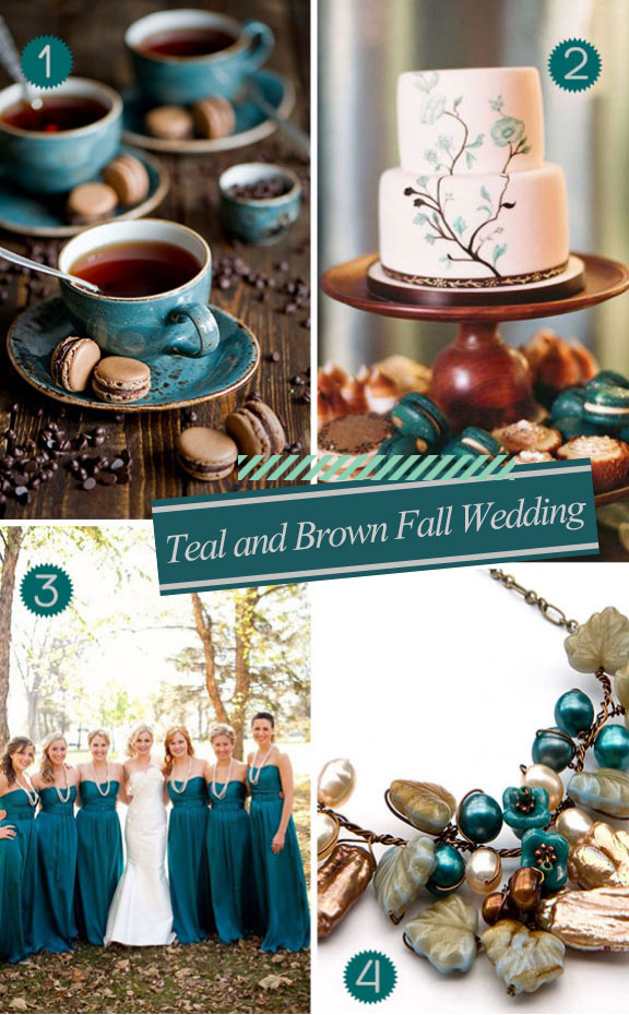 teal and brown wedding cake, gowns, and flowers