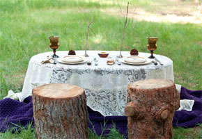 Wooden bark reception table