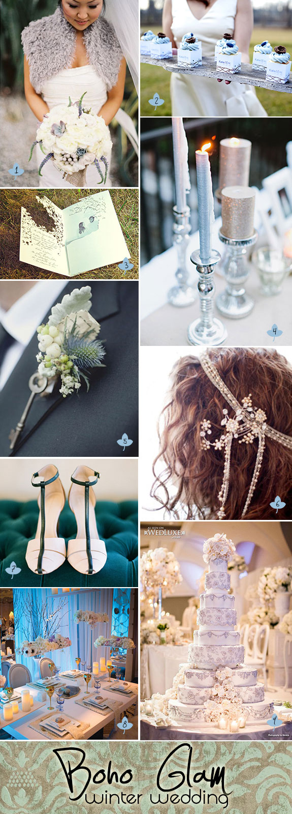 Bohemian glam winter wedding inspiration board with rich textures and modern hip colors.