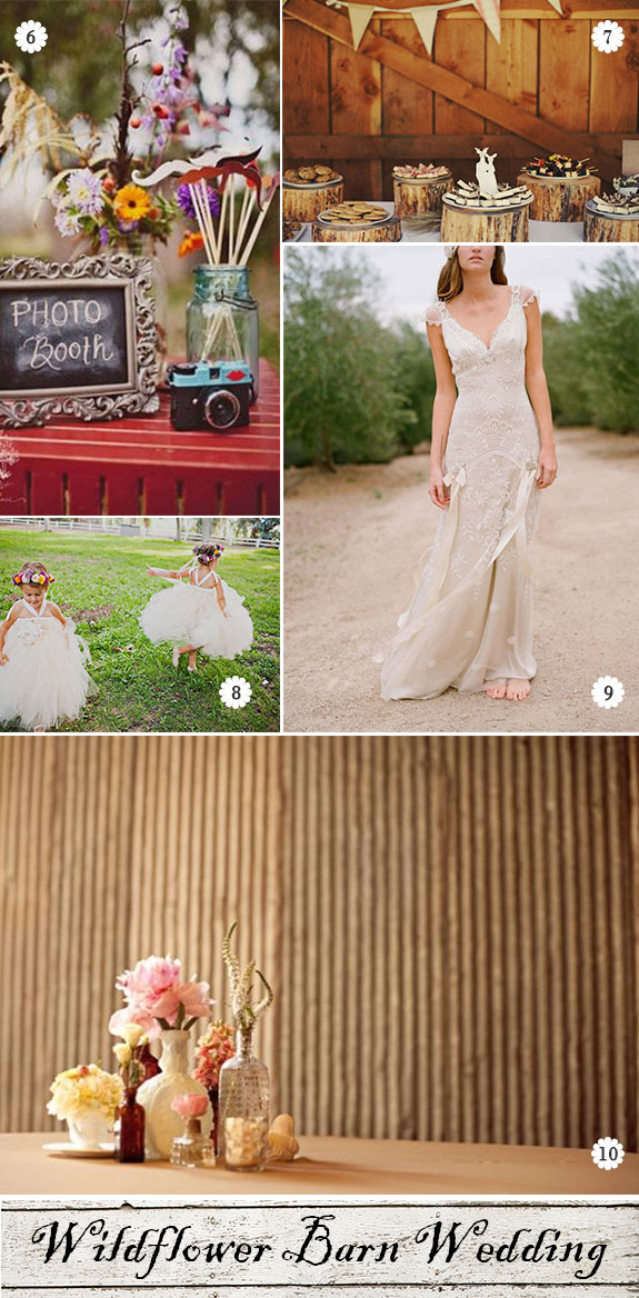 Rustic wedding inspiration for dress, photo booth, cake and dessert tables
