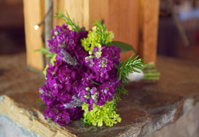 Bouquet with radiant orchid hue. Photo credit to Loverly