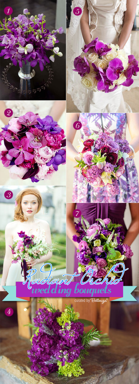 Summer wedding bouquet for radiant orchid in fuchsia, magenta, purple hues