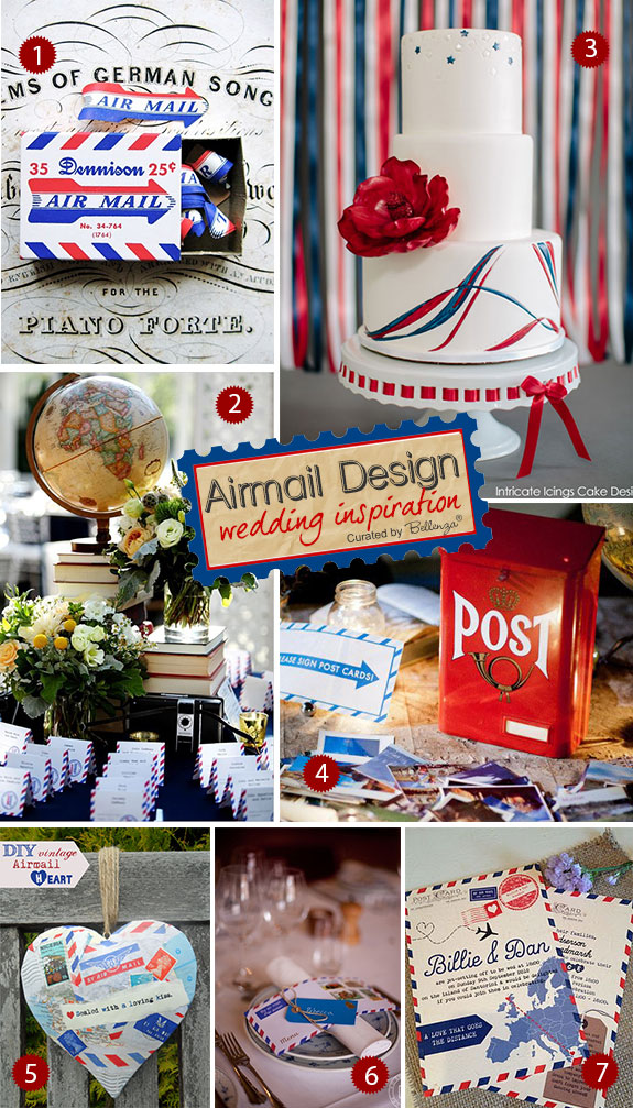 Airmail wedding ideas in red and white and blue