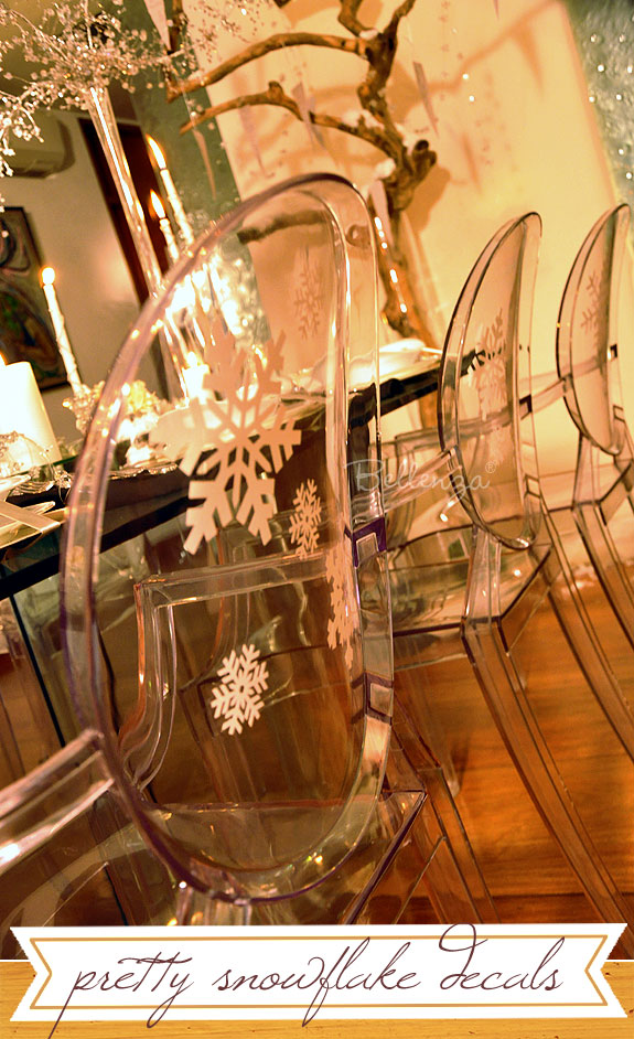 Snow decals on ghost chairs