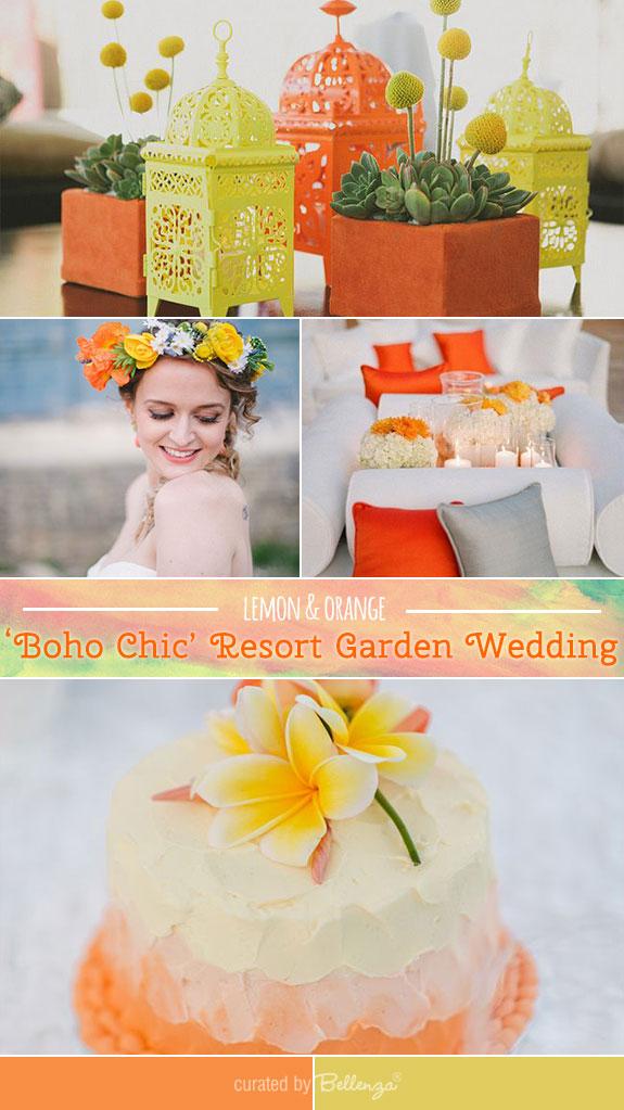 Lemon and orange in boho chic garden wedding