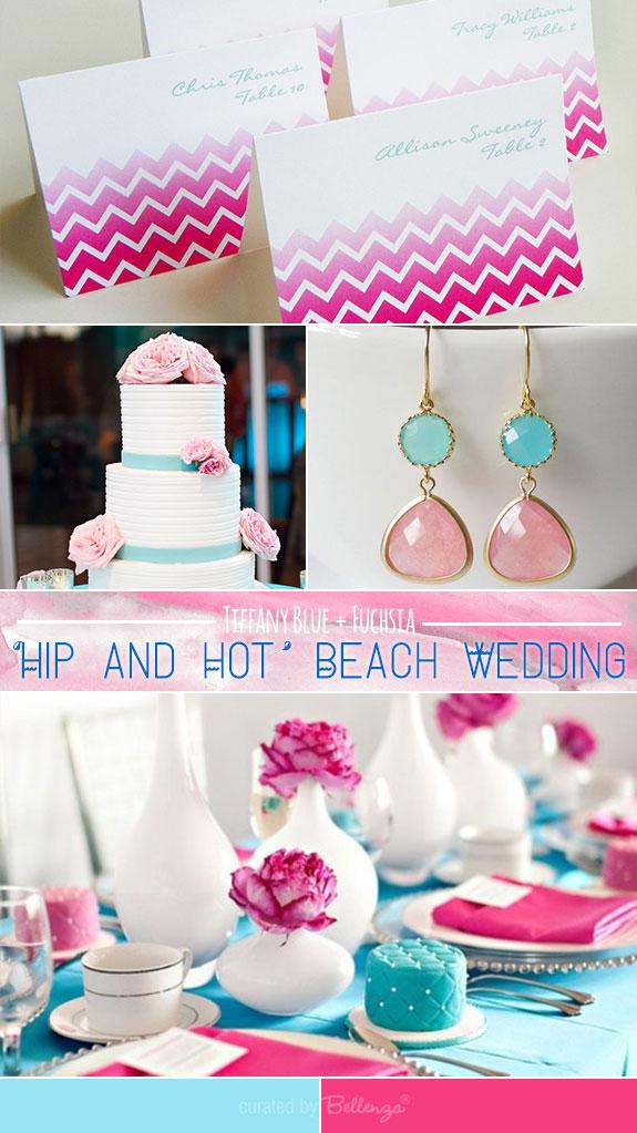 Tiffany blue and fuchsia for a beach wedding