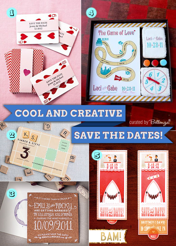 Creative save the dates from playing cards to cookies to pull-out cards