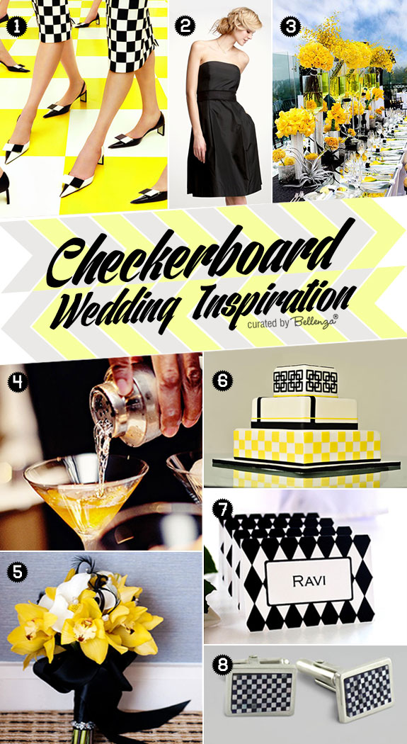 Black, white, and yellow checkerboard themed wedding