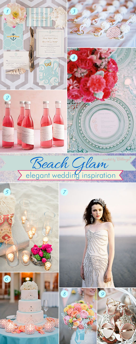 Glamorous beach wedding inspiration in a palette of Turquoise and Pink from bouquet to gown to favors to decor
