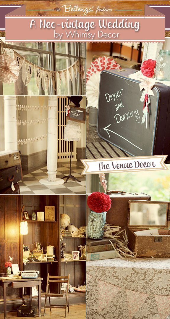 Neo vintage wedding with touches of lace, burlap, vintage books, and chalkboard sign by Whimsy Decor