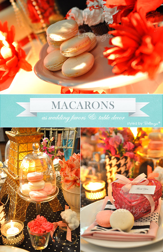 Macarons as wedding favors and table decorations with an elegant look