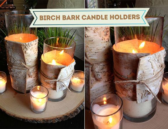 Birch bark candles centerpieces