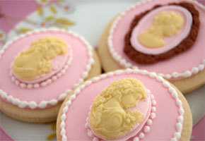Cameo cookies in pink and ivory by I Feel Cook