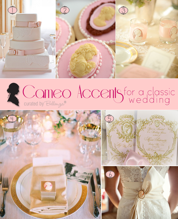 A Cameo Themed Wedding with Inspirational Ideas for a Wedding Cake, Invitations, Favors, and Table Decorations