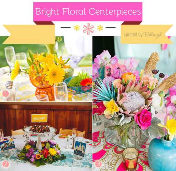 Bright floral centerpieces for summer weddings