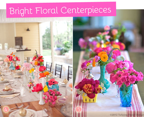 Bright table centerpieces with colorful flowers