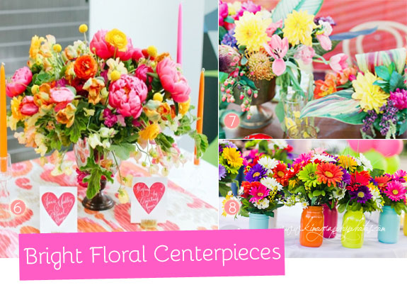 Floral centerpieces with bright flowers