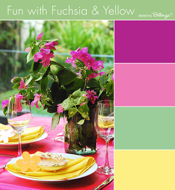 Fuchsia tablescape in colors of fuchsia, yellow, green, and hot pink