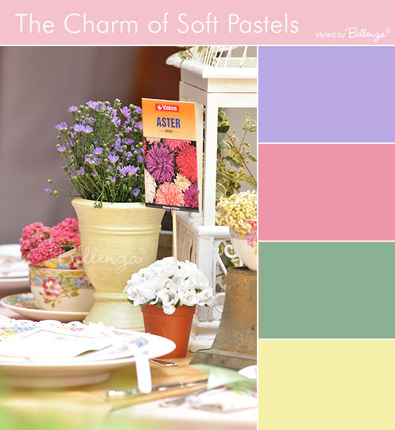 Pastels garden colors in buttercream yellow, sage green, pink, and lilac