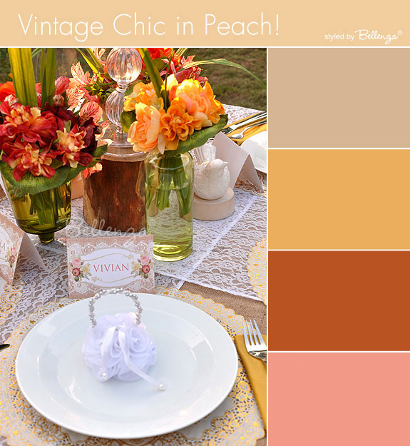 Summer peach tablescape in beige, peach, copper, and coral