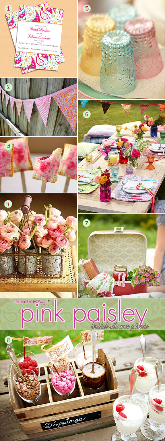 Pink paisley bridal shower picnic ideas with invites, food, decor, desserts, and flowers.