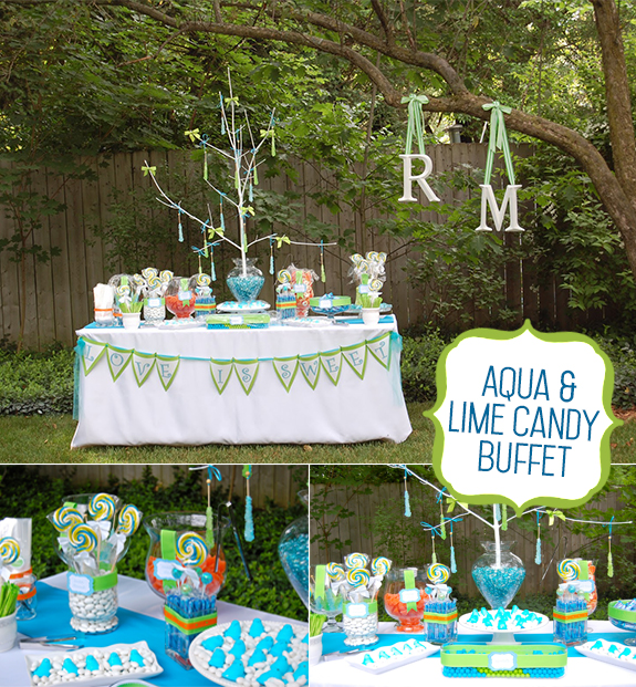 Aqua and lime green candy buffet table for bridal shower guests with peeps to swirly pops, to gumballs, to blue jelly beans, to hanging rock candy sticks