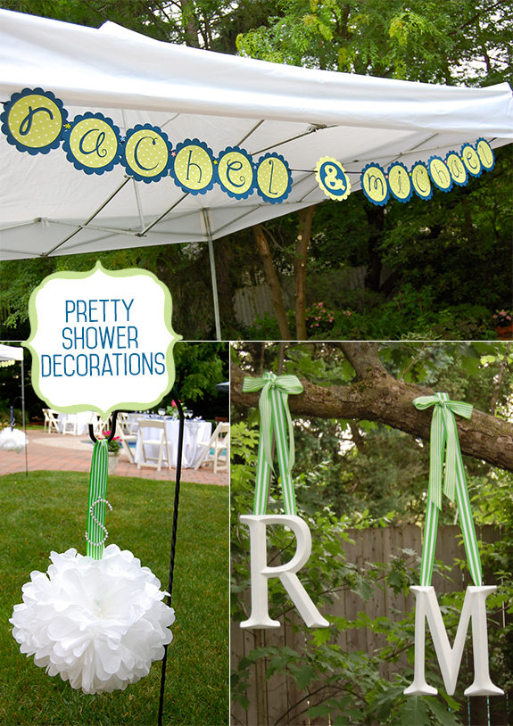 Ceiling pom poms, party banner, and backdrop for bridal shower pool party