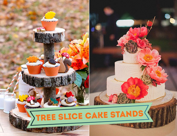 Tree slice cake stands for cupcakes and wedding cake
