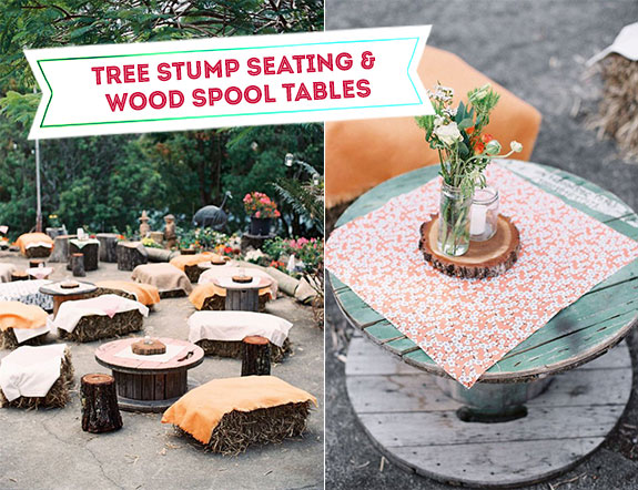 Tree stumps as ceremony seating