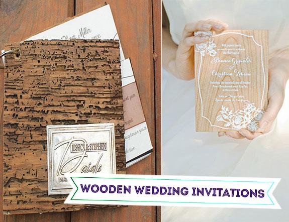 Wooden or wood grain wedding invitations