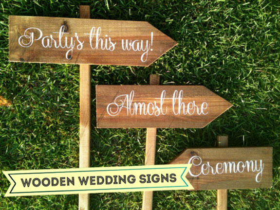 Wooden reception signs for wedding