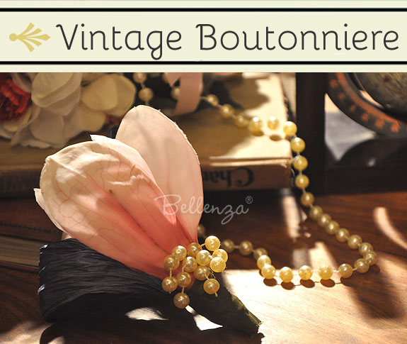 A simple boutonniere for a vintage-inspired wedding ceremony