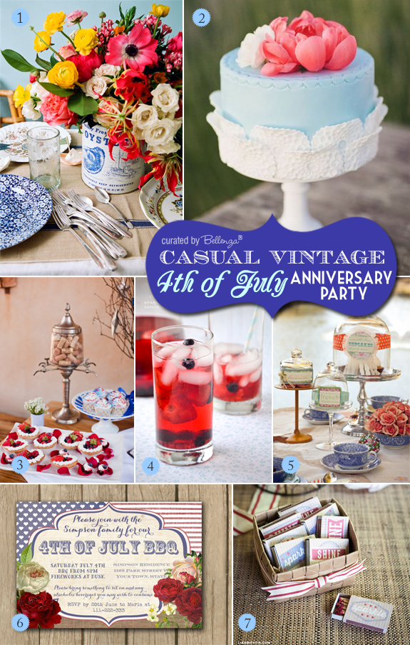 Denim blue and pink palette for a casual July 4th wedding anniversary party