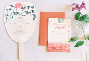 Garden Wedding Invitation and Program Fan. Photo by Jose Villa blog