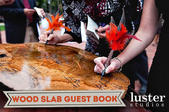 Wooden slab wedding guestbook
